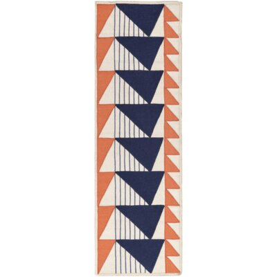 Haveman Hand-Woven Navy/Coral Area Rug Rug Size: Runner 26 x 8