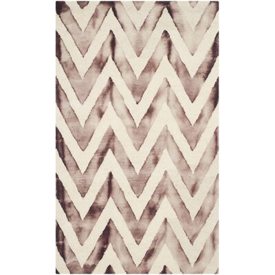 Vandermark Dip Dye Ivory/Maroon Area Rug Rug Size: Rectangle 3 x 5