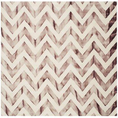 Vandermark Dip Dye Ivory/Maroon Area Rug Rug Size: Square 7