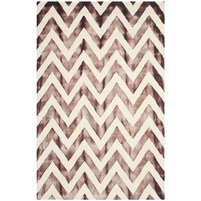 Vandermark Dip Dye Ivory/Maroon Area Rug Rug Size: Rectangle 5 x 8