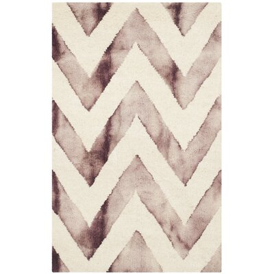 Vandermark Dip Dye Ivory/Maroon Area Rug Rug Size: Rectangle 4 x 6