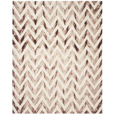 Vandermark Dip Dye Ivory/Maroon Area Rug Rug Size: Rectangle 8 x 10