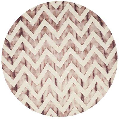 Vandermark Dip Dye Ivory/Maroon Area Rug Rug Size: Round 7