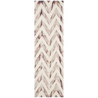 Vandermark Dip Dye Ivory/Maroon Area Rug Rug Size: Runner 23 x 8