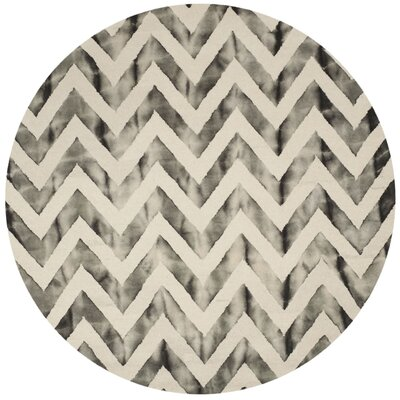 Vandermark Ivory/Charcoal Area Rug Rug Size: Round 7