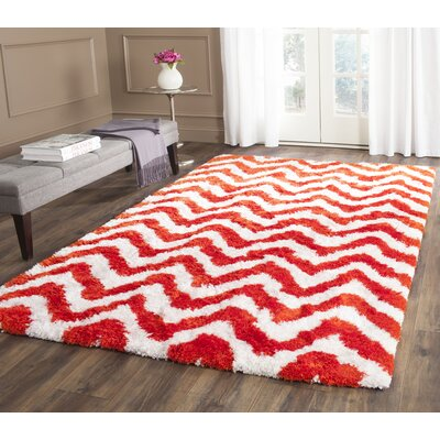 Bail Ivory/Rust Shag Area Rug Rug Size: Rectangle 5 x 8