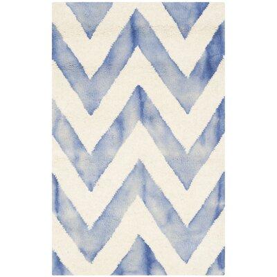 Chou Ivory/Blue Area Rug Rug Size: 2 x 3