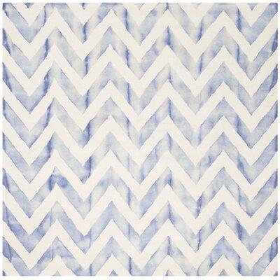 Chou Ivory/Blue Area Rug Rug Size: Square 7