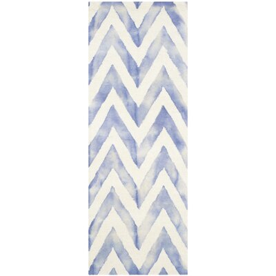 Chou Ivory/Blue Area Rug Rug Size: Runner 23 x 6
