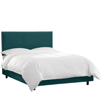 Duque Upholstered Panel Bed Color: Mystere Peacock, Size: Queen