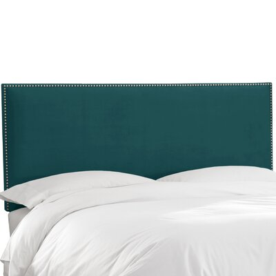 Speight Nail Button Upholstered Panel Headboard Upholstery: Mystere Peacock, Size: Queen