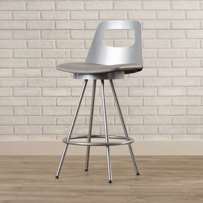 Oliveira 26 Swivel Bar Stool Finish/Seat Color: Glossy Grey/Cold Grey