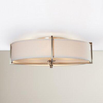Benavidez 6-Light Flush Mount Finish: Hazel Bronze, Bulb Type: Incandescent, Shade Type: Khaki Fabric