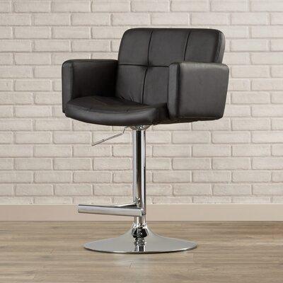 Adler Adjustable Height Swivel Bar Stool Upholstery: Black