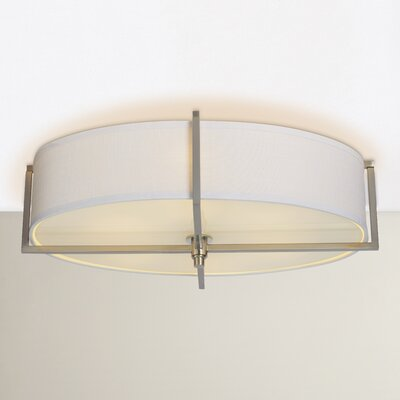 Benavidez 6-Light Flush Mount Finish: Brushed Nickel, Bulb Type: Incandescent, Shade Type: Slate Gray Fabric