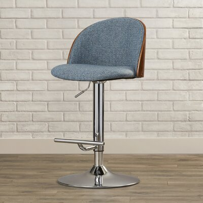 Pitcock Adjustable Height Swivel Bar Stool Upholstery: Blue Noise
