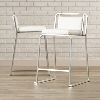 Loftis 24.75 Bar Stool Upholstery: White