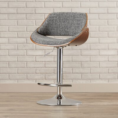 Martino Adjustable Height Swivel Bar Stool Upholstery: Grey Noise