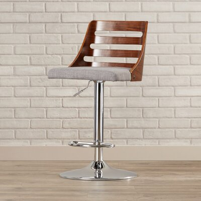 Testerman Adjustable Height Swivel Bar Stool Upholstery: Light Gray