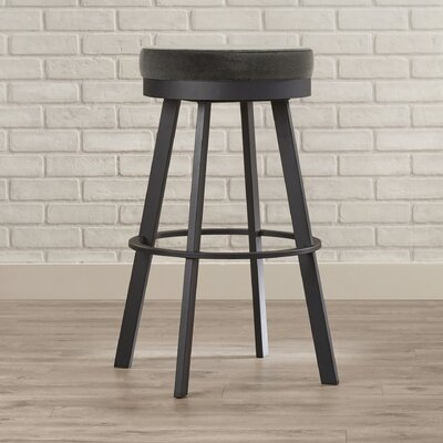 Jamieson 30.25 Swivel Bar Stool Upholstery: Textured Black/Light Cold Grey