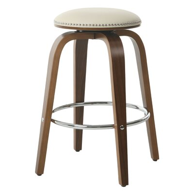 Tidwell 26 Swivel Bar Stool Upholstery: Ivory