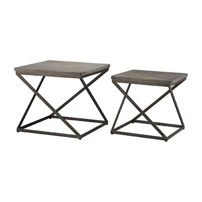 Branan 2 Piece Aged Coffee Table Set