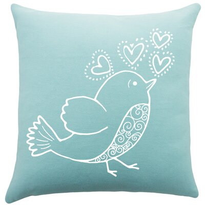 Shores Bird Hearts Cotton Throw Pillow Color: Aqua