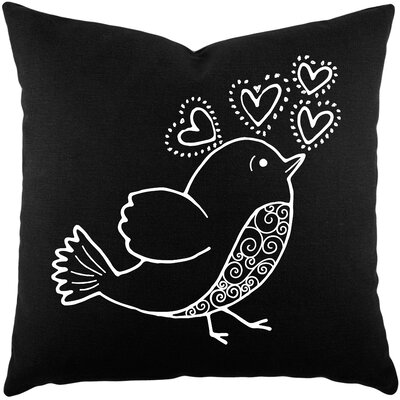 Shores Bird Hearts Cotton Throw Pillow Color: Black / White