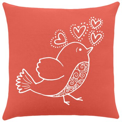 Shores Bird Hearts Cotton Throw Pillow Color: Cayenne