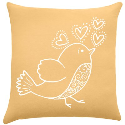 Shores Bird Hearts Cotton Throw Pillow Color: Golden Rod