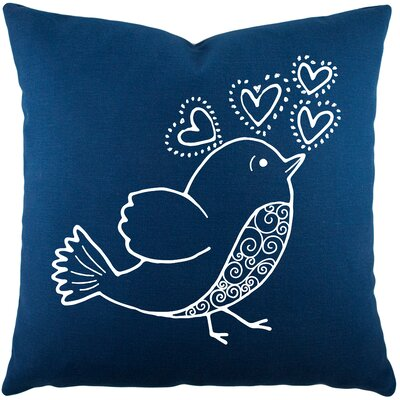 Shores Bird Hearts Cotton Throw Pillow Color: Navy