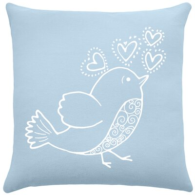 Shores Bird Hearts Cotton Throw Pillow Color: Placid Blue