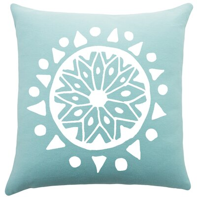 Alcantar Bohemian Cotton Throw Pillow Color: Aqua / White