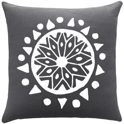 Alcantar Bohemian Cotton Throw Pillow Color: Gunmetal Grey / White