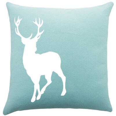 Birkholz Deer Cotton Throw Pillow Color: Aqua