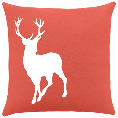 Birkholz Deer Cotton Throw Pillow Color: Cayenne