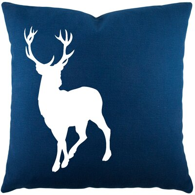 Birkholz Deer Cotton Throw Pillow Color: Navy