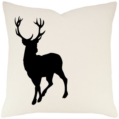 Birkholz Deer Cotton Throw Pillow Color: Ivory / Black