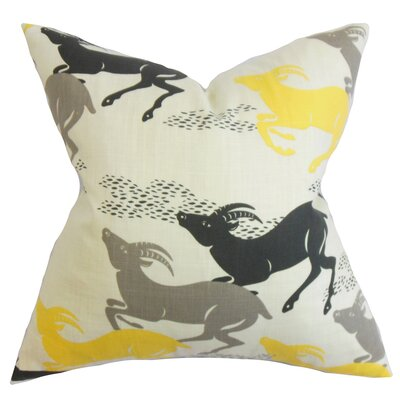 Deklan Animal Print Cotton Throw Pillow Color: Citrine, Size: 18x18