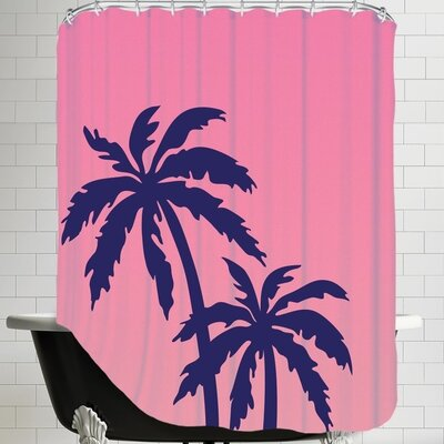 Ashlee Rae Palm Tree Shower Curtain Color: Pink / Navy