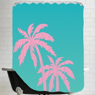 Ashlee Rae Palm Tree Shower Curtain Color: Teal / Pink