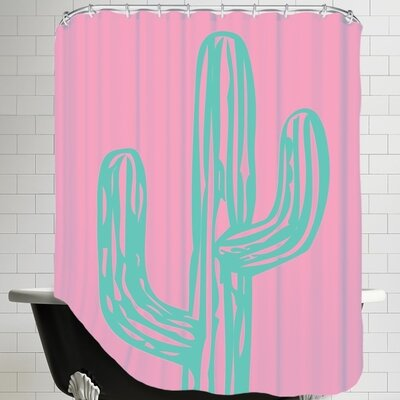 Ashlee Rae Cactus Shower Curtain Color: Teal