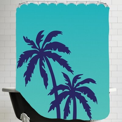 Ashlee Rae Palm Tree Shower Curtain Color: Teal / Navy