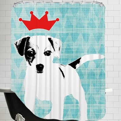 Ikonolexi Dog 1 Shower Curtain color: Blue