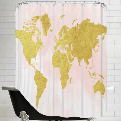 Peach & Gold Shower Curtain