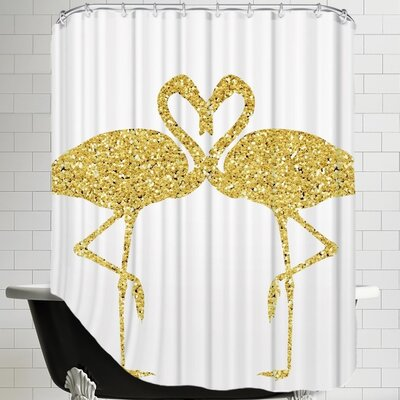 Peach & Gold Flamingos Shower Curtain
