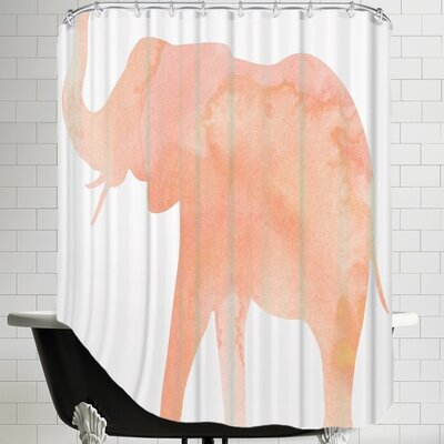 Peach & Gold C Elephant Shower Curtain Color: Coral / White