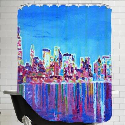 Markus Bleichner Blankinship Skyline Neon Shimmering Shower Curtain