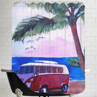 Markus Bleichner Surf Bus Under Palms at Dream Beach Spot Shower Curtain