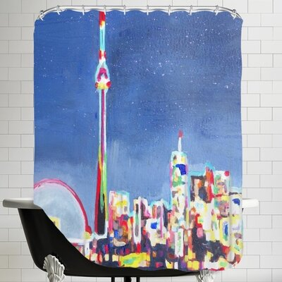 Markus Bleichner Neon Shimmering Skyline Shower Curtain